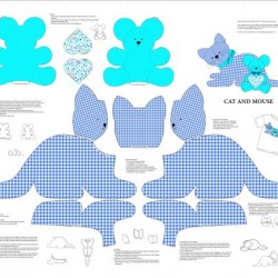 CUT & MOUSE STUFFABLE PANEL (90CM) - BLUE