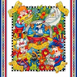 BED TIME RHYMES QUILT PANEL (90CM)
