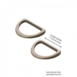 "D-Ring Flat-A/Brass-1""-2pk"