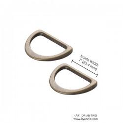 """D-Ring Flat (1"""") 2pk - A/BRASS"""