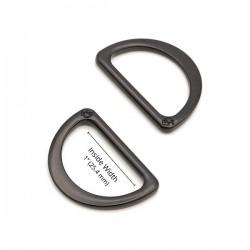 """D-Ring Flat (1"""") 2pk - BLACK/METAL"""