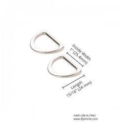 """D-Ring Flat (1"""") 2pk - NICKEL"""