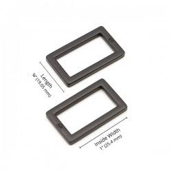 """Rectangle Ring Flat (1"""") 2pk - BLACK/METAL"""