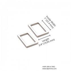 """Rectangle Ring Flat (1"""") 2pk - NICKEL"""