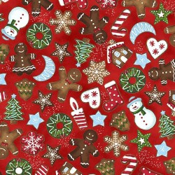TOSSED GINGERBREAD MEN - RED/SILVER