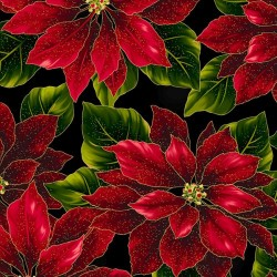 LARGE POINSETTIAS - BLACK/GOLD