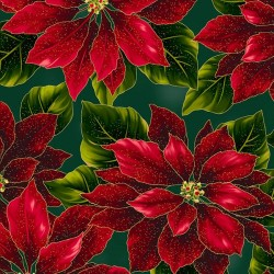 LARGE POINSETTIAS - HUNTER/GOLD
