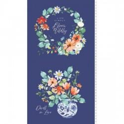 Panel - Bloom Wildly 60cm - LIGHT NAVY
