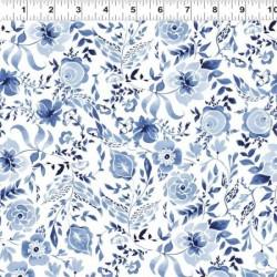 Watercolour Floral - LIGHT NAVY