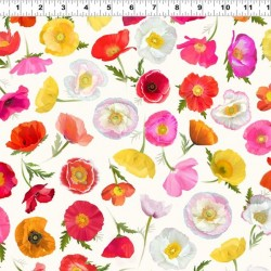 Digital Ombre Poppies - LIGHT CREAM