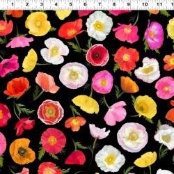 Digital Ombre Poppies - BLACK