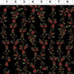 ROSE VINE STRIPE  - BLACK