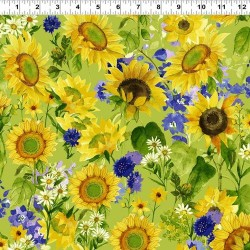 Sunflowers and Daisys - GREEN