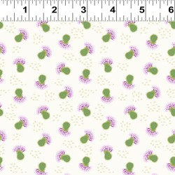 Small Tossed Thistles - WHITE/DK GREEN