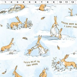 Playful Bunnies Flannel - BLUE