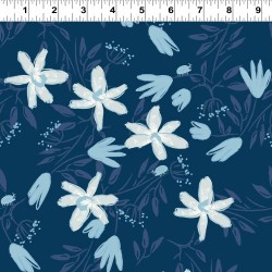 Hand Painted Flowers - NAVY