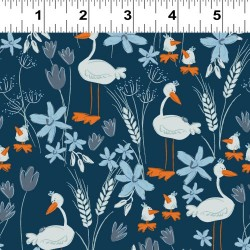 Geese and Flowers - NAVY