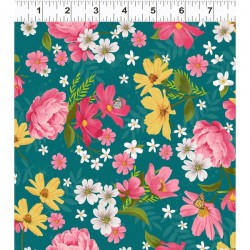 Mixed Floral - DK TEAL