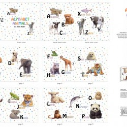 Book Panel - Alphabet Animals (90cm) - WHITE