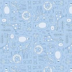 Tiny Monotone Animal Line Work - BLUE