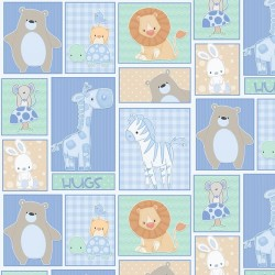 Small Animals Patchwork - BLUE