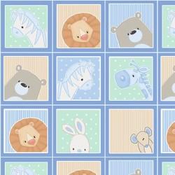 Small Blocks Peeking Animals - BLUE