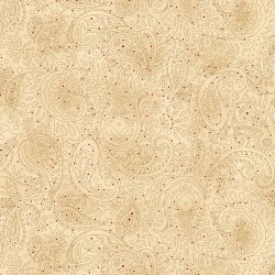 Paisley with Tiny Red Dots - BEIGE