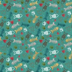 Fish Bone & Heart - TEAL