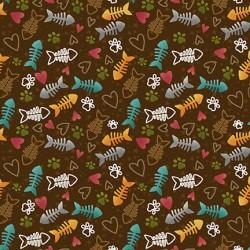 Fish Bone & Heart - BROWN