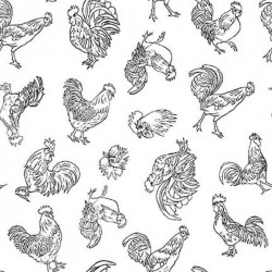 Rooster linework - WHITE