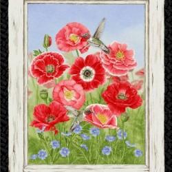 Poppy Quilt Panel (60cm) - RED