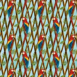 Parrot on Bamboo - SKY BLUE