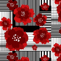 Funky Flowers on Stripe Patchwork - RED/BLACK