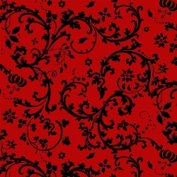 Red Ground with Black Scroll - RED