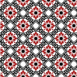 Red Small Flower with Black Trellis - RED/BLACK
