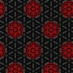 Red Medallions on Black Ground - BLACK/RED