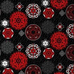 Multi Sized Medallion on Black Ground - BLACK/RED