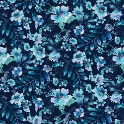 Watercolor Large Floral - NAVY