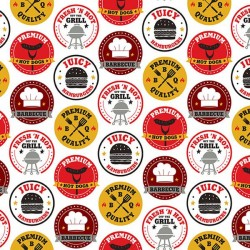 BBQ Stamps - WHITE/MULTI