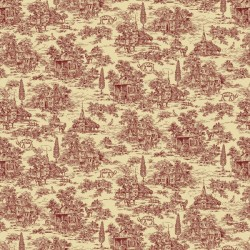 "108"" Wideback Red Toile - CREAM"