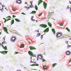 Feature Floral and Birds - LILAC SILVER