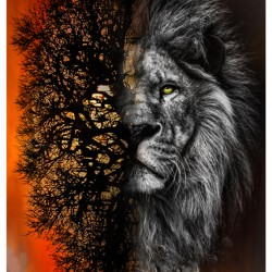 Digital Lion in Shadow Panel (82cm)- SUNSET