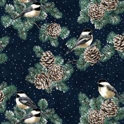 Pine Cones and Birds -  NAVY/SILVER
