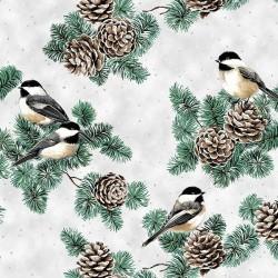 Pine Cones and Birds - SNOW/SILVER