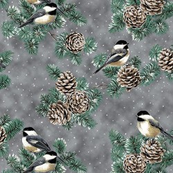 Pine Cones and Birds - PEWTER/SILVER
