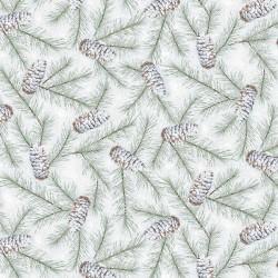Pine Cones and Birds - SAGE/SILVER