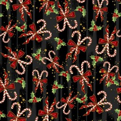Candy Canes and Holly - BLACK/GOLD