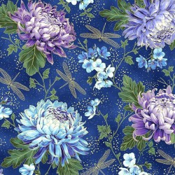 Dragonflies and Flowers - ROYAL/GOLD