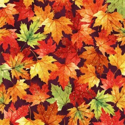 Tossed Leaves - MULBERRY/GOLD