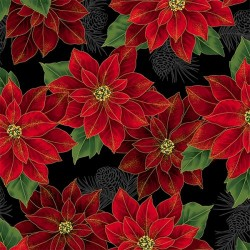Poinsettias - BLACK/GOLD